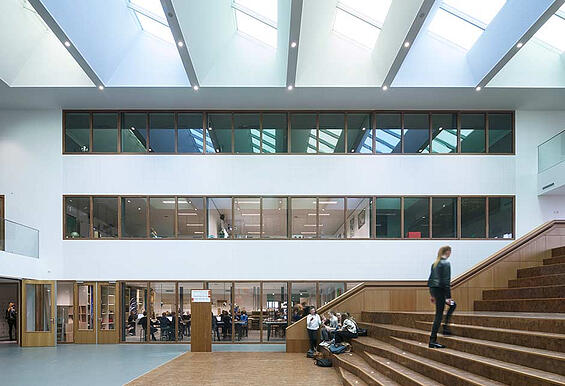College atrium filled with daylight