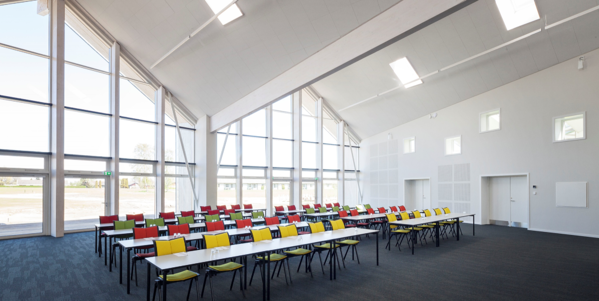 hotel conference space with skylights