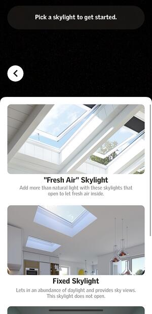 Visualizer app - skylight selection screen