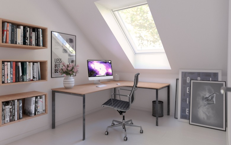 Home office with skylight