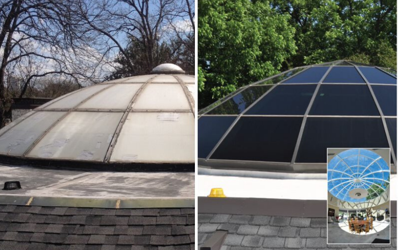 Replacement skylight before and after