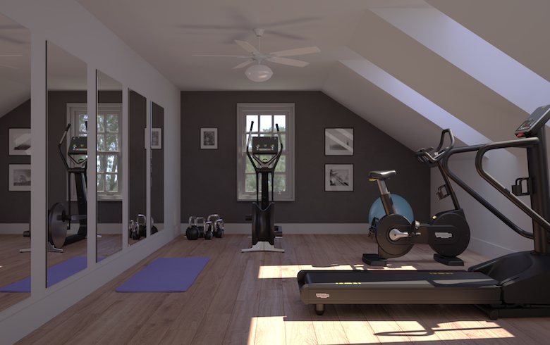 Rendering of a home gym with skylights