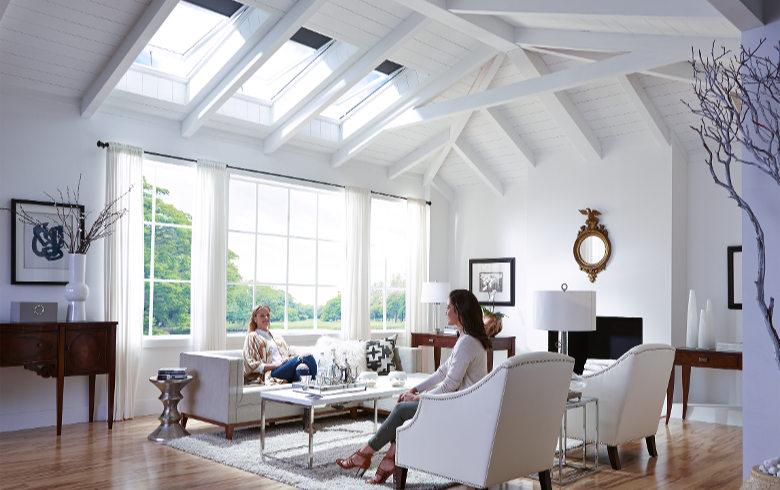 living room with venting skylights