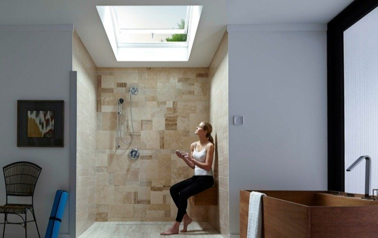 Fresh air skylight in a bathroom