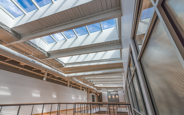 Skylights in Renovated Historic Building Atrium