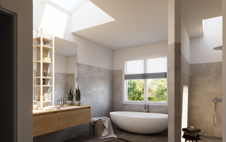modern bathroom with skylights